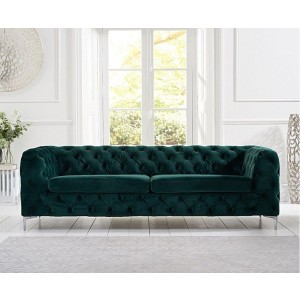 Estelle Fabric 3 Seater Sofa In Green With Sleek Metal Legs