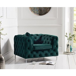 Estelle Fabric 1 Seater Sofa In Green With Sleek Metal Legs