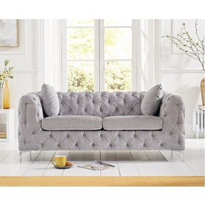 Estelle Fabric 2 Seater Sofa In Grey With Sleek Metal Legs