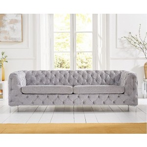 Estelle Fabric 3 Seater Sofa In Grey With Sleek Metal Legs