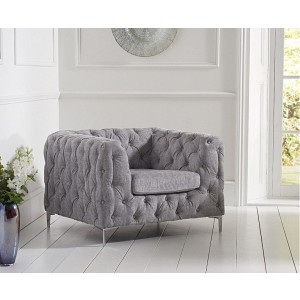 Estelle Fabric 1 Seater Sofa In Grey With Sleek Metal Legs
