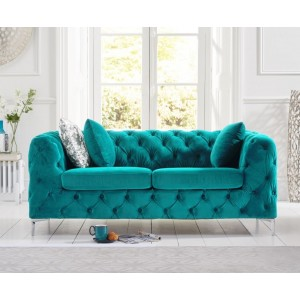 Estelle Fabric 2 Seater Sofa In Teal With Sleek Metal Legs