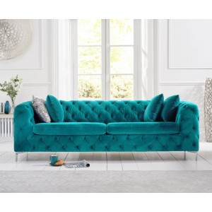 Estelle Fabric 3 Seater Sofa In Teal With Sleek Metal Legs