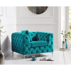 Estelle Fabric 1 Seater Sofa In Teal With Sleek Metal Legs