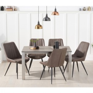 Alejandra Brown Ceramic Dining Table With 4 Mink Harley Chairs