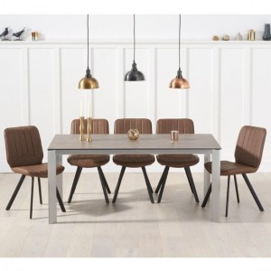 Alejandra Brown Ceramic Dining Table With 6 Brown Maui Chairs
