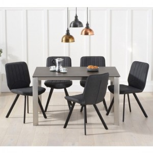Alejandra Mink Ceramic Dining Table With 4 Grey Harley Chairs