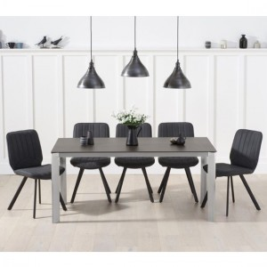 Alejandra Mink Ceramic Large Dining Table 6 Grey Harley Chairs