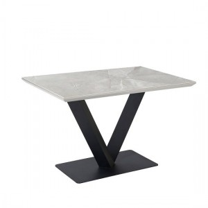 Alessia Ceramic Marble Dining Table In Grey With Black Metal Legs