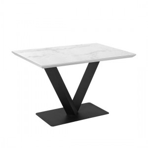 Alessia Ceramic Marble Dining Table In White With Black Metal Legs
