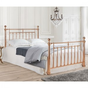 Alexander Metal Double Bed In Rose Gold