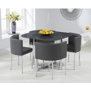 Abingdon Grey Glass Stowaway Dining Set With 4 Grey Dining Chairs