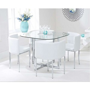 Charisma Stowaway Dining Set With 4 White Dining Chairs