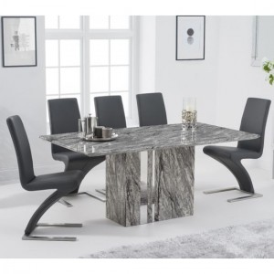 Alice 180cm Grey Marble Rectangular Dining Table With 6 Hereford Grey Chairs