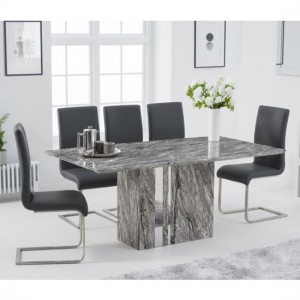 Alice 180cm Grey Marble Rectangular Dining Table With 6 Malibu Grey Chairs