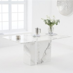 Alice 180cm Marble Rectangular Dining Table In White