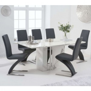 Alice 180cm White Marble Rectangular Dining Table With 6 Hereford Grey Chairs