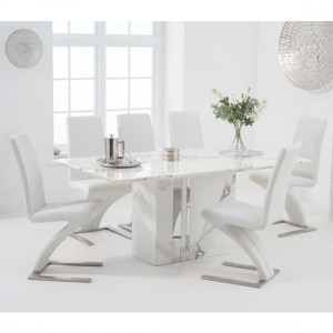 Alice 180cm White Marble Rectangular Dining Table With 6 Hereford White Chairs