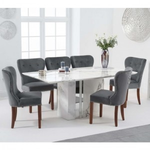 Alice 180cm White Marble Rectangular Dining Table With 6 Kalim Grey Chairs