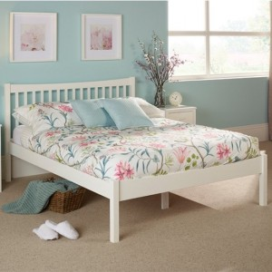 Alice Wooden King Size Bed In Opal White