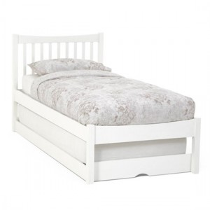 Alice Wooden Single Bed With Guest Bed In Opal White