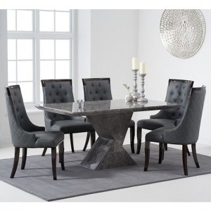 Allen 160cm Grey Marble Rectangular Dining Table With 6 Aviva Grey Chairs