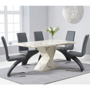 Allen 160cm White Marble Rectangular Dining Table With 6 Hereford Grey Chairs