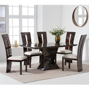 Allen Marble Dining Table In Brown High Gloss With 6 Rome Chairs