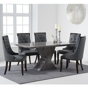 Allen Marble Dining Table In Grey High Gloss With 6 Rome Chairs