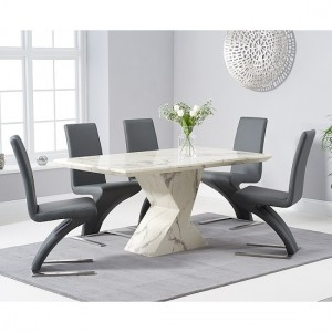 Allen Marble Dining Table In White High Gloss With 6 Grey Hereford Chairs