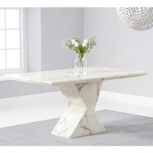 Allen Rectangular Marble Dining Table In White