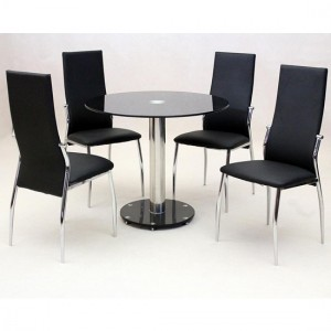 Alonza Black Glass Dining Set With Chrome Stand And 4 Black Chairs