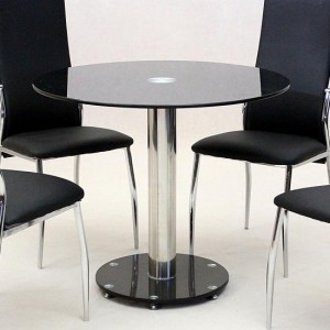 Alonza Black Glass Top Dining Table With Chrome Metal Stand