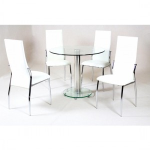 Alonza Clear Glass Dining Set With Chrome Stand And 4 White Chairs
