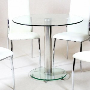 Alonza Clear Glass Top Dining Table With Chrome Metal Stand