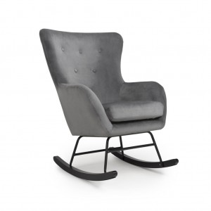 Alpine Brushed Velvet Rocking Armchair In Grey