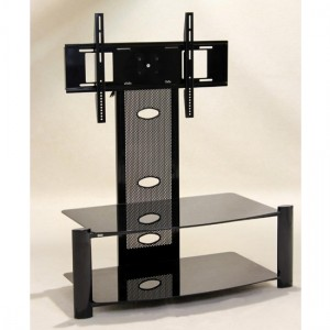Alpine Flat Screen TV Stand In Black With Metal Frame