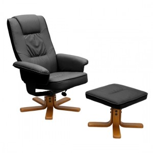 Althorpe PU Leather Recliner With Footstool In Black