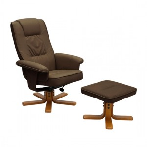 Althorpe PU Leather Recliner With Footstool In Brown