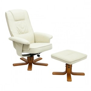 Althorpe PU Leather Recliner With Footstool In Cream