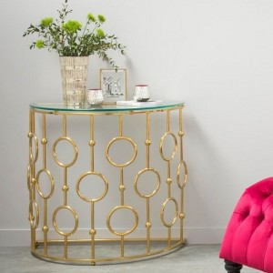 Alyssa Clear Glass Console Table In Golden Stainless Steel Base