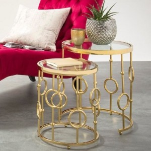 Alyssa Clear Glass Nest of Tables In Golden Stainless Steel Base