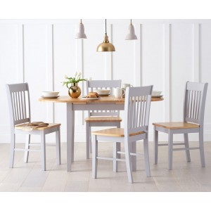 Darwin Extending 4 Seater Wooden Dining Table Set In Oak And Grey