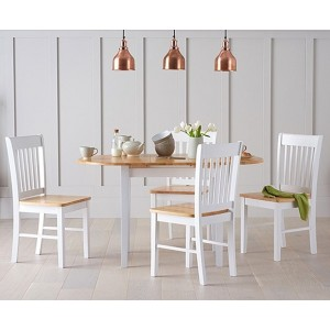 Darwin Extending 4 Seater Wooden Dining Table Set In Oak And White