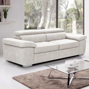 Amando Fabric 3 Seater Sofa In Beige
