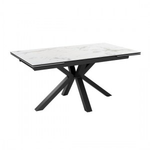 Amari Extending Ceramic Marble Dining Table In White