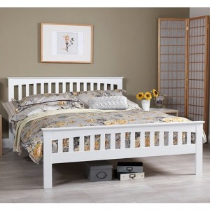 Amelia Wooden King Size Bed In Opal White
