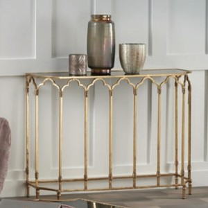 Amritsar Gold Console Table With Black Glass Top