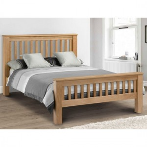Amsterdam Wooden High Foot End King Size Bed In Waxed Oak