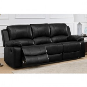 Andalusia LeatherGel And PU Recliner 3 Seater Sofa In Black